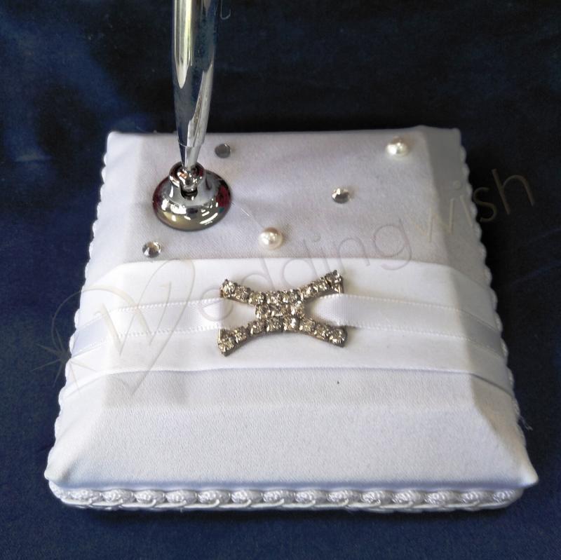 Duchess-Satin-White-Pen-Set-Wedding-Pen-Stand