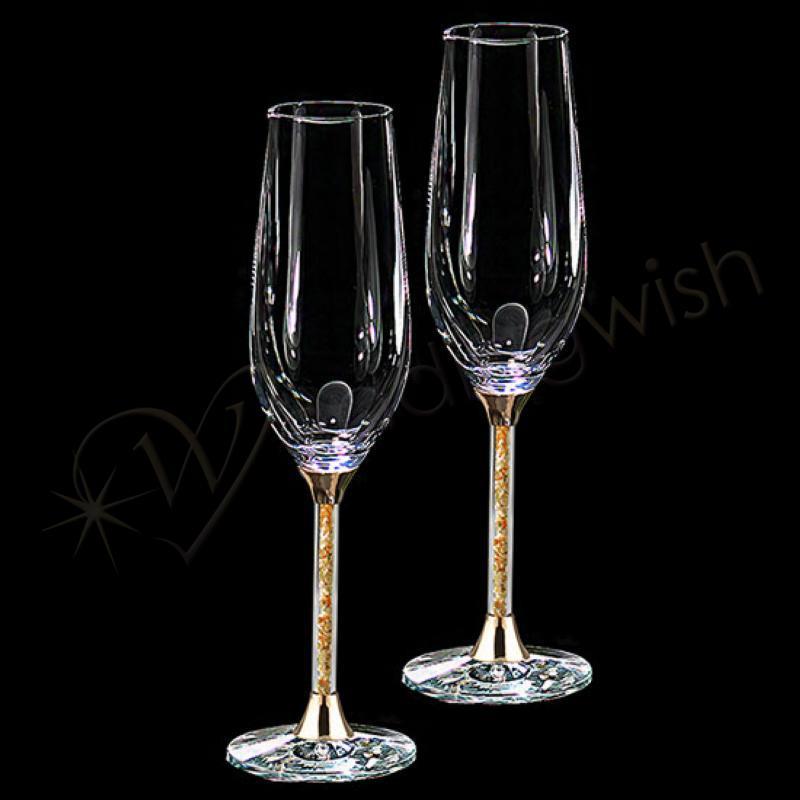 Gold leaf stem champagne flutes, Wedding toasting glasses ...