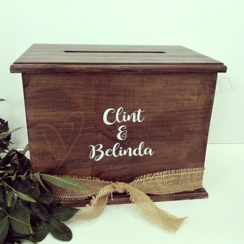 Rustic Wooden Wishing well Personalised engraved Card Box Wedding Engagement