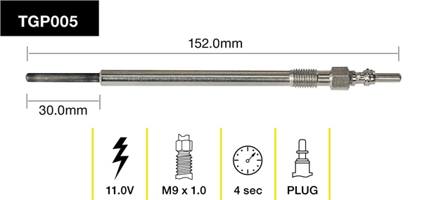 Tridon Glow Plug 152mm Long 11v - TGP005