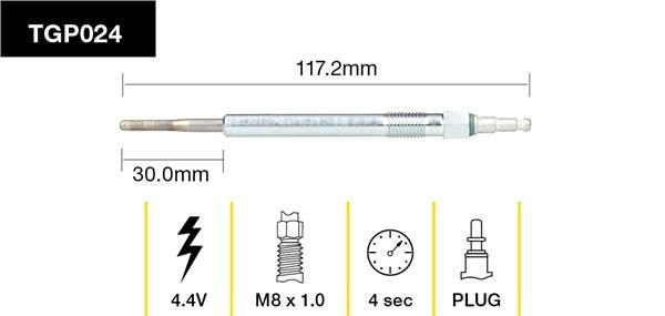 Tridon Glow Plug 97mm Long 5v - TGP024