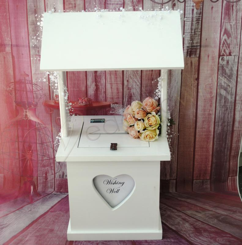 Wedding Wishing Well.Details About White Wishing Well Timber With Personalised Window Wedding Engagement