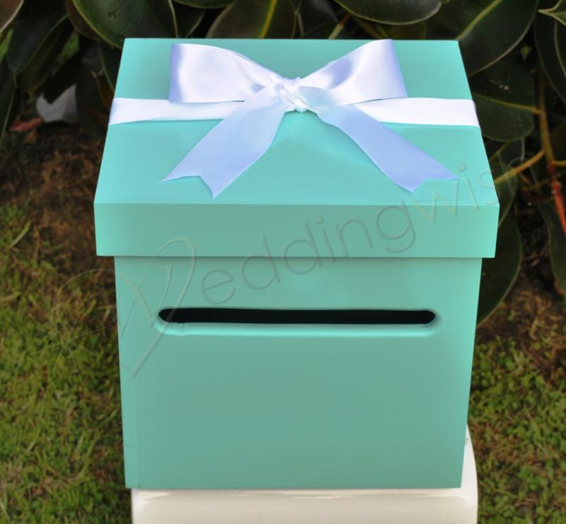 Aqua Blue Wedding Wishing Well Wooden Timber Box