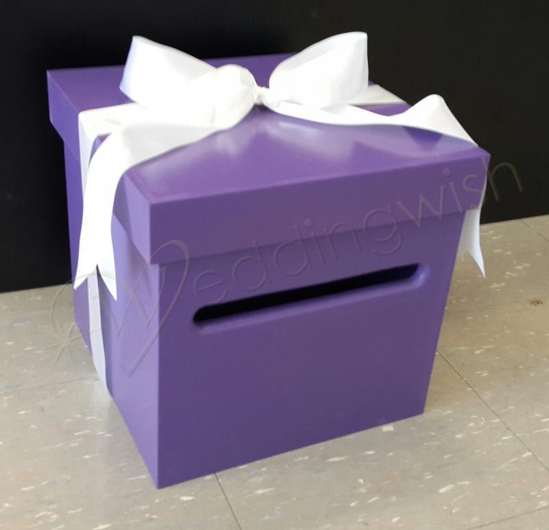 Purple Wedding Wishing Well - wooden timber box - Engagement 21st ...